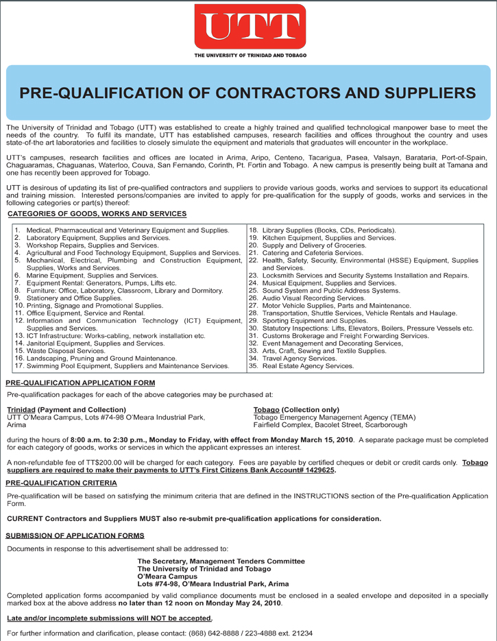 Prequalification of Contractors and Suppliers