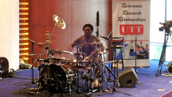 Tony Mason demonstrates his skills on the drums